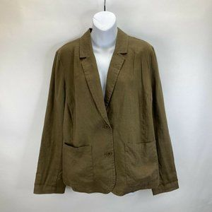 Eileen Fisher Linen Brown Blazer Button Up Womens